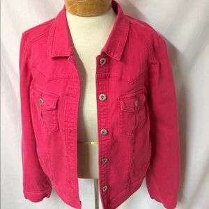 One World Ladies size large pink denim jacket A1